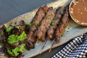 Asian Beef Skewers with Peanut Dipping Sauce