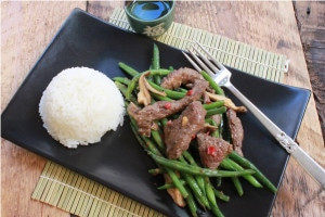 stir-fry beef green beans mushrooms