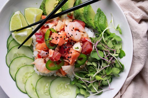 mixed seafood poke bowl